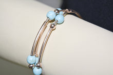 Load image into Gallery viewer, Rose Gold Plated Metal Wire Cuff Bracelet w/Turquoise Beads