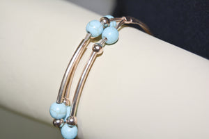 Rose Gold Plated Metal Wire Cuff Bracelet w/Turquoise Beads