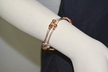 Load image into Gallery viewer, Rose Gold Plated Wire Cuff Bracelet w/golden Glass Beads