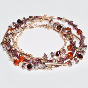 Rose Gold Plated link chain w/Multi- Color Glass beads