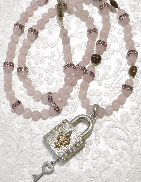 Rose Quartz, Tiny Heart Shape Jade, Crystals Luck Pendant Necklace