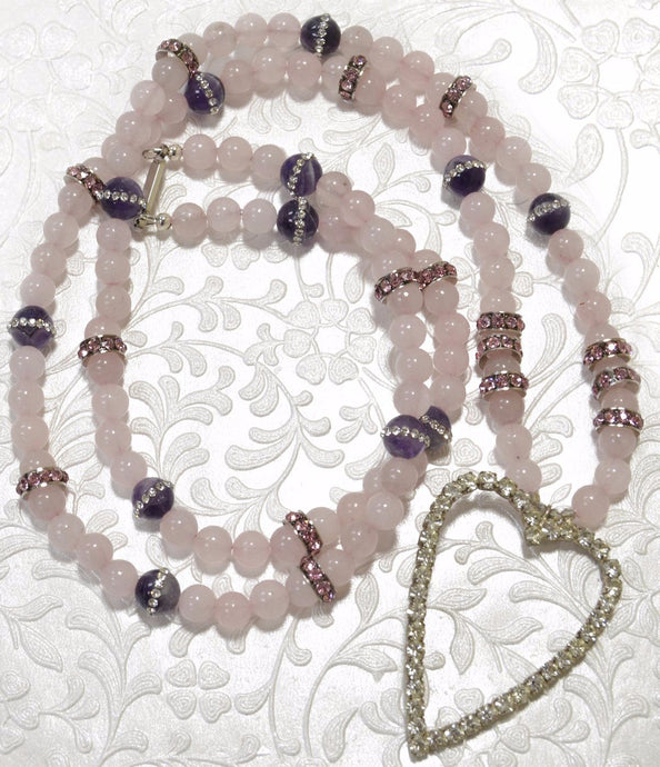 Rose Quartz, Amethyst, CZ, Crystals Heart Pendant Necklace