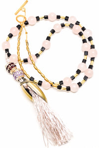 Genuine Rose Stone Onyx and Tussle long necklace