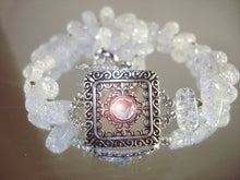 Load image into Gallery viewer, Cracked Ice Glass Bead Silver color Metal Bracelet/Necklace