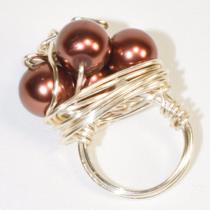 Silver Color Metal Wire Bronze Pearl Ring