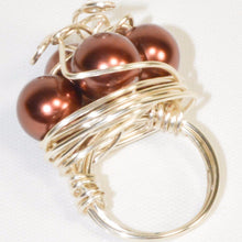 Load image into Gallery viewer, Silver Color Metal Wire Bronze Pearl Ring