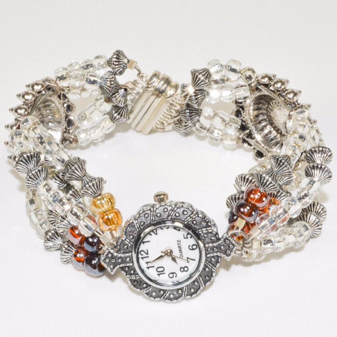 Silver Color champaign Glass Beads watch Bracelet