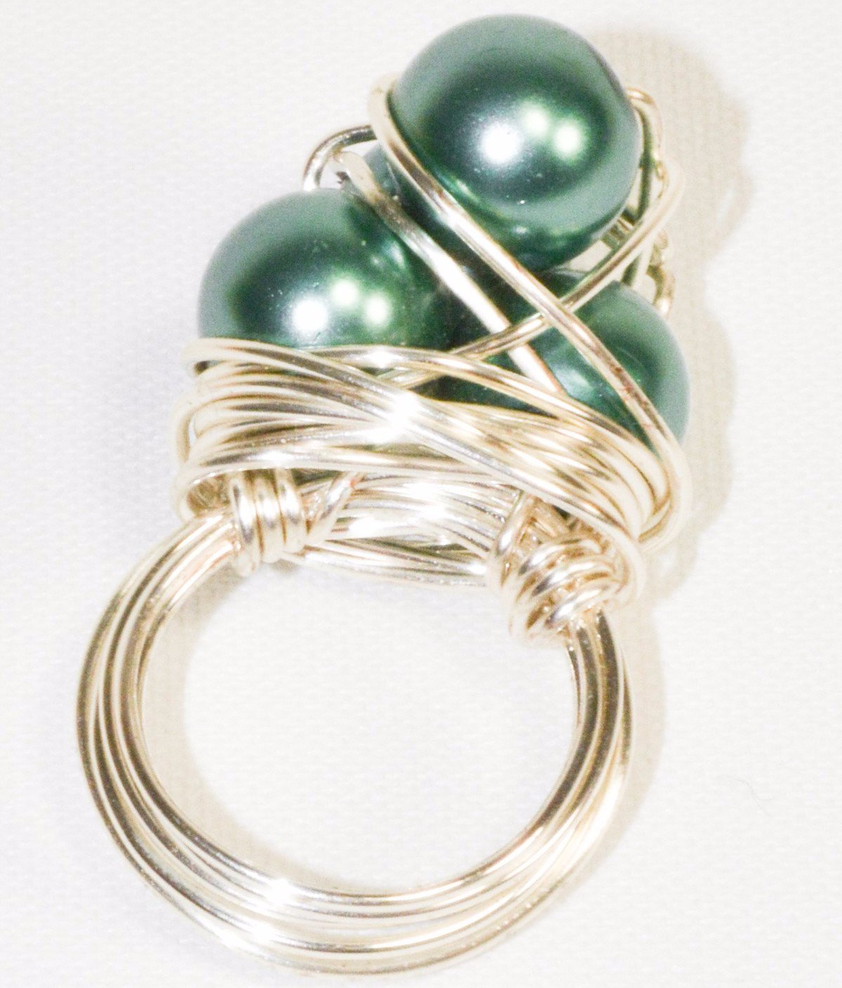 Silver Plated Wire Green Pearl Cluster Ring