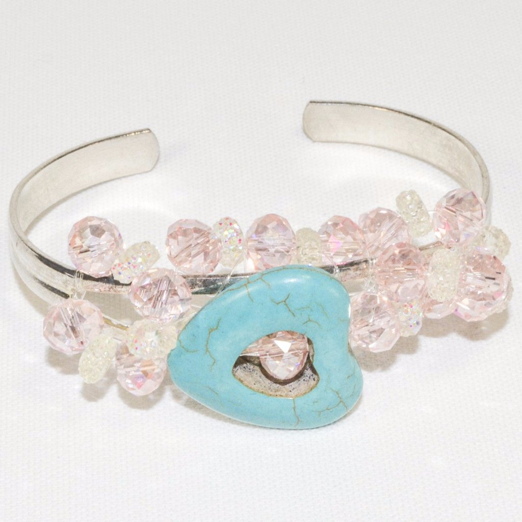 Silver Color Pink Glass Beads Heart Turquoise Bracelet