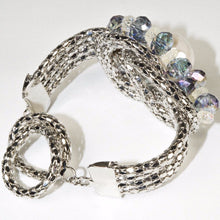 Load image into Gallery viewer, Silver Color Blue Glass Beads Large Ceramic Bead Bangle Bracelet