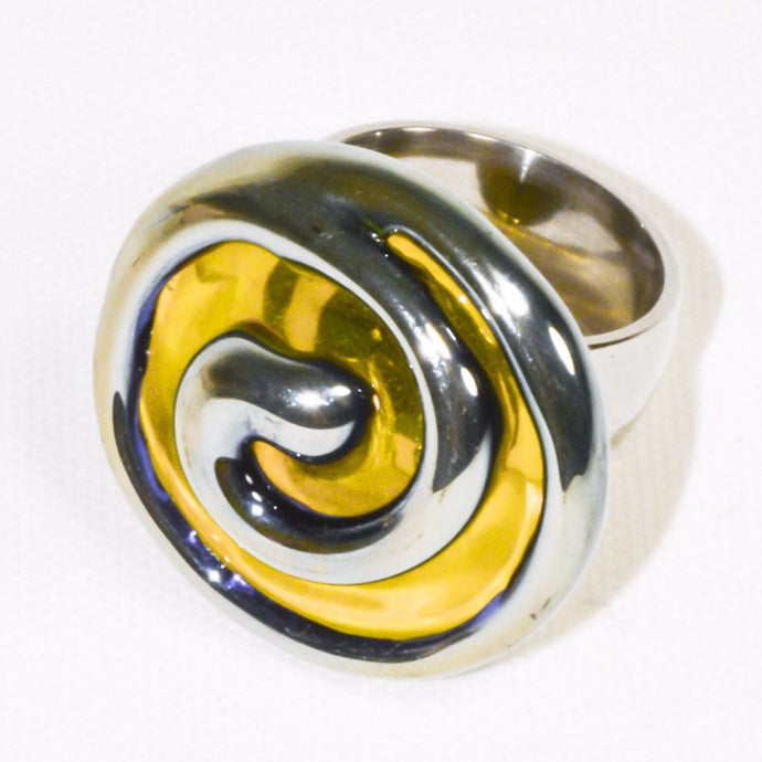 Silver Color Yellow Flower Glass Ring