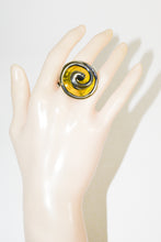 Load image into Gallery viewer, Silver Color Yellow Flower Glass Ring