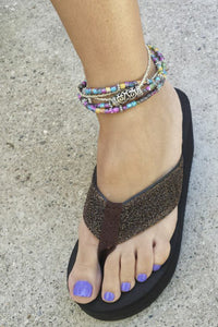Colorful multi-strand Glass Beads Bracelet / Anklet