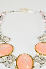 Load image into Gallery viewer, 3 Large Oval Coral Color Glass Beads, Sparkling Rhinestones Bridal choker