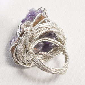 Silver Plated Wire Amethyst Geode Stone Ring