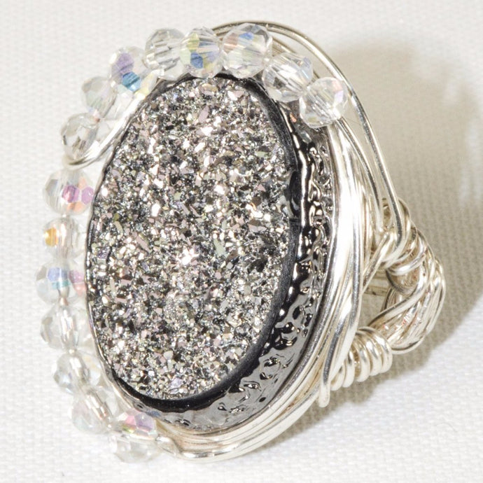 Silver Plated Wire w/Silver Color Druzy Quartz Oval Ring