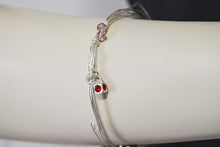 Load image into Gallery viewer, Silver Plated Multi Wire Pinkish Glass Beads Red Swarovski Bead Charm Bracelet