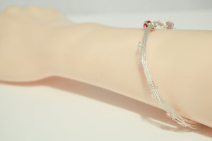 Silver Plated Multi Wire Pinkish Glass Beads Red Swarovski Bead Charm Bracelet