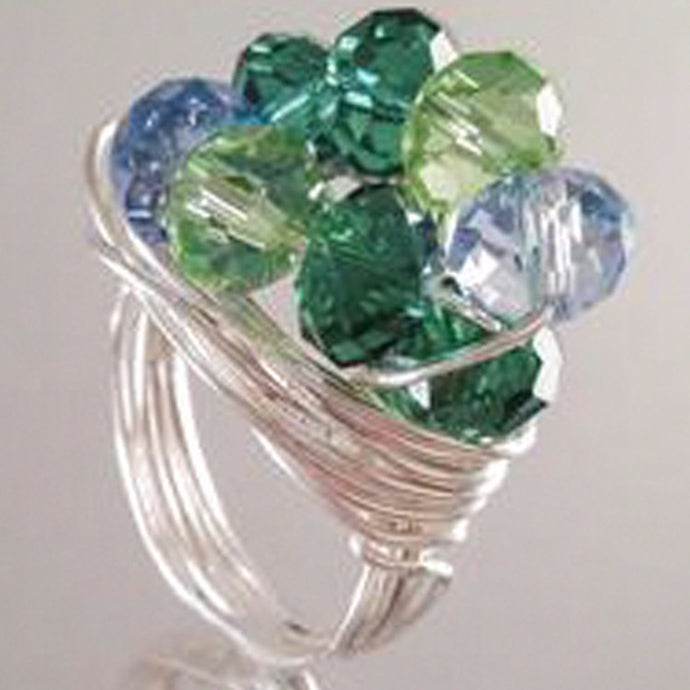 Silver Plated Wire Blue & Green glass Beads Ring