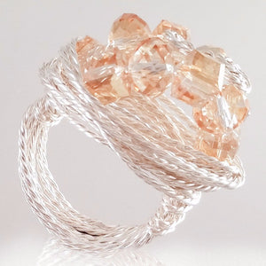 925 Sterling Silver Plated Wire Golden Color Glass Beads Ring
