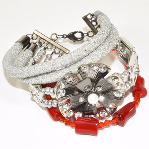 Silver Rope Red Coral Glass Beads Bracelet