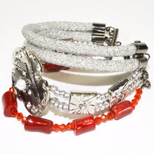 Load image into Gallery viewer, Silver Rope Red Coral Glass Beads Bracelet