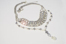 Load image into Gallery viewer, Silver Color Metal Multi Chain Crystals, Rhinestones & Large Fresh Water Pearl Necklace