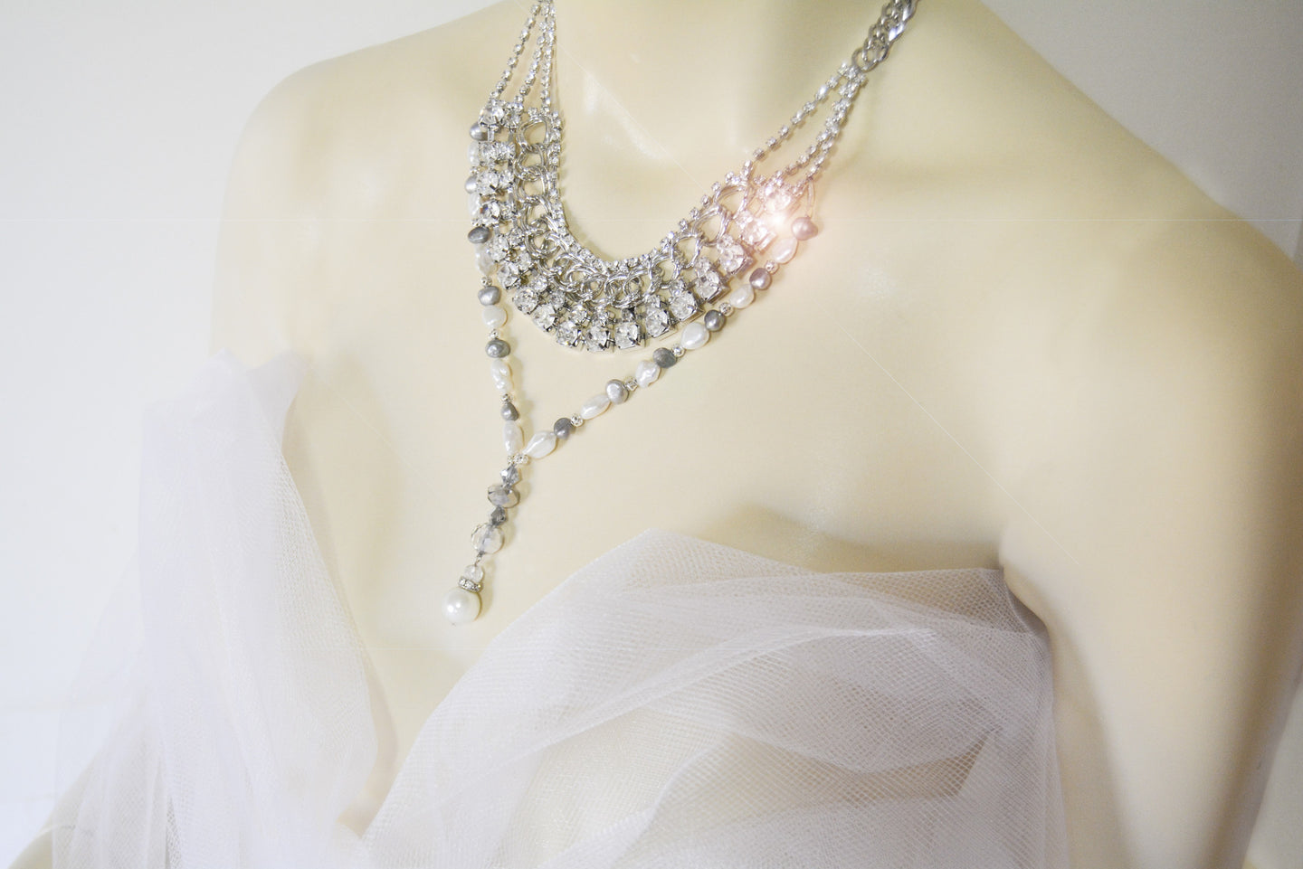 Silver Color Metal Multi Chain Crystals, Rhinestones & Large Fresh Water Pearl Necklace