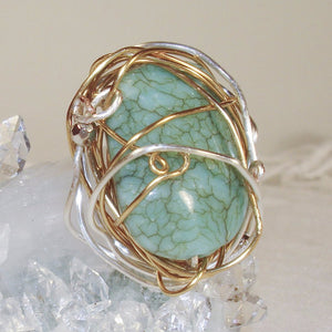 Silver and Gold Color Wire large green earthy stone Ring