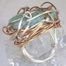 Load image into Gallery viewer, Silver and Gold Color Wire large green earthy stone Ring