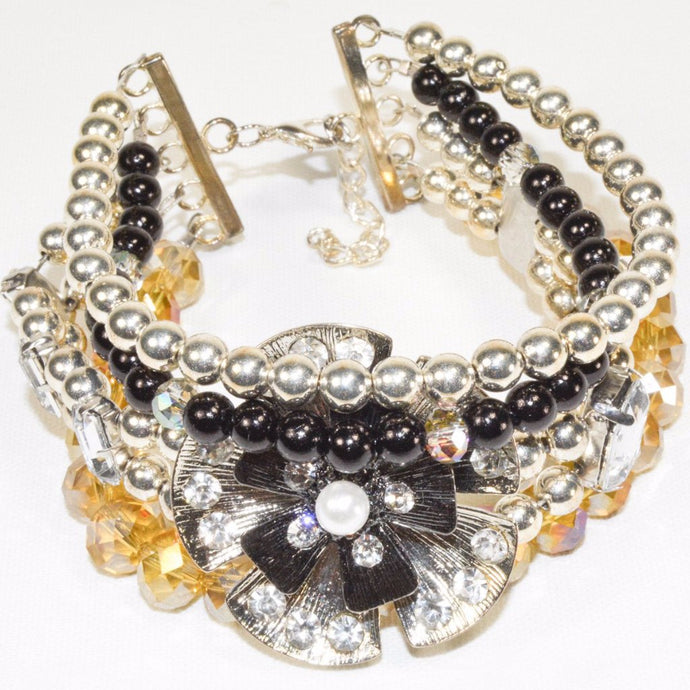 Silver color Onyx Glass Flower Beads Bracelet