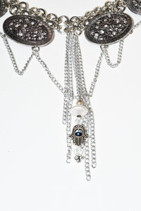 Silver color multi chain necklace