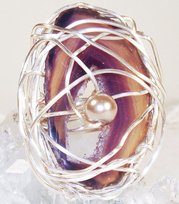 Natural Agate Crystal Geode Slice Silver Plated Wire Ring