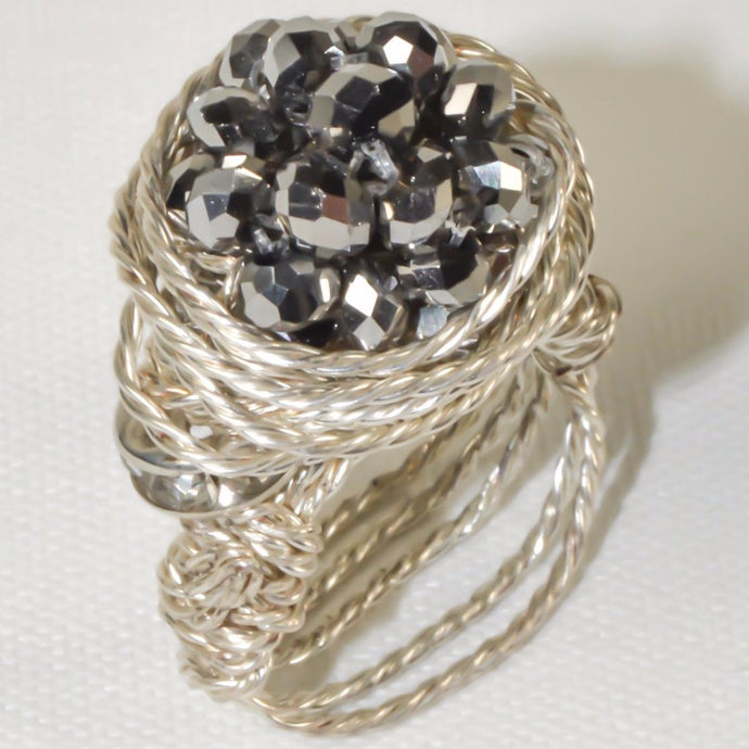 Sparkle Silver Plated Wire Ring