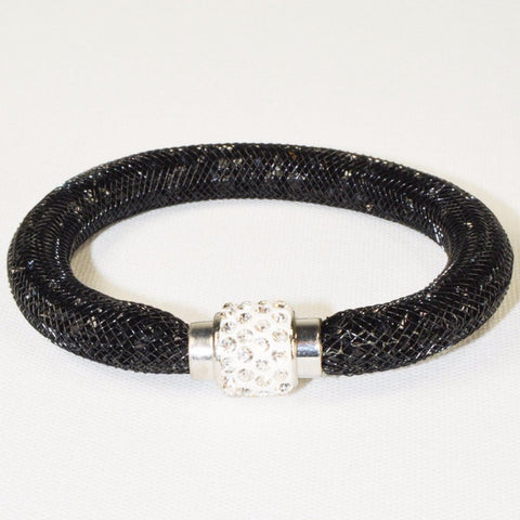 Stainless Steel Black Net Tube Bracelet w/Crystals