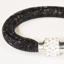 Load image into Gallery viewer, Stainless Steel Black Net Tube Bracelet w/Crystals