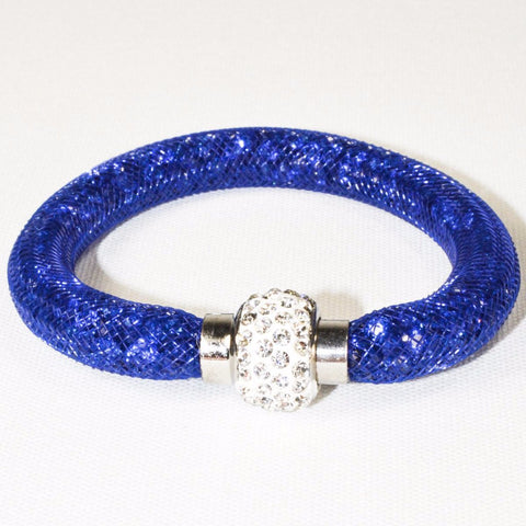 Stainless Steel Blue Net Tube Bracelet w/Crystals
