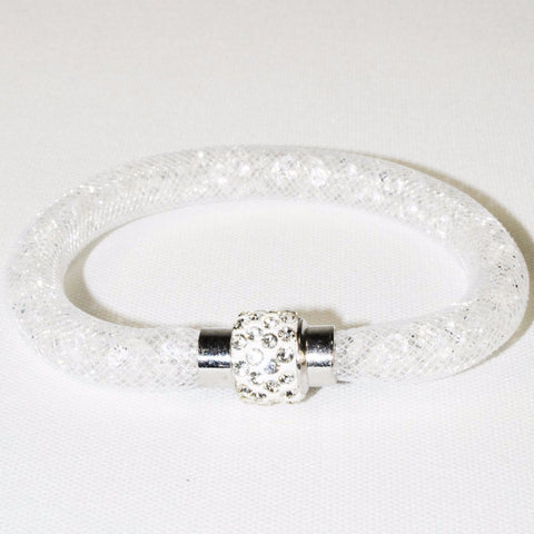 Stainless Steel White Net Tube Bracelet w/Crystals