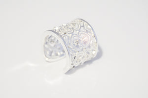 Sterling Silver CZ with hearts Ring