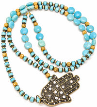 Load image into Gallery viewer, Large Long TURQUOISE Hamssah Pendant Necklace