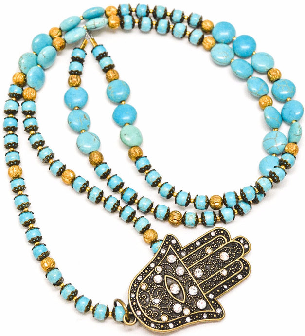 Large Long TURQUOISE Hamssah Pendant Necklace