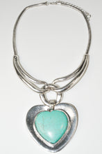 Load image into Gallery viewer, Vintage Tibet antique Silver plated love heart Turquoise Necklace Pendent necklace