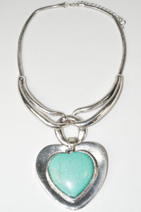 Vintage Tibet antique Silver plated love heart Turquoise Necklace Pendent necklace