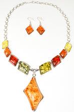 Load image into Gallery viewer, Vintage Tibetan Silver plated Faux Amber Oval Statement Necklace Dangle Earrings Sets