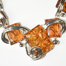 Load image into Gallery viewer, Vintage Tibetan Silver plated collar Necklace Faux Amber Necklace
