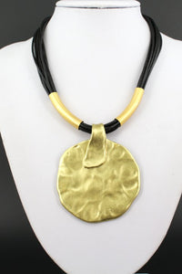 Vintage Yellow Gold Plated Chokers Circular Metal Pendant Leather Cord Necklaces