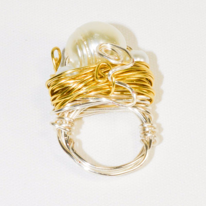 White Color Pearl Silver Gold Color Wire Ring