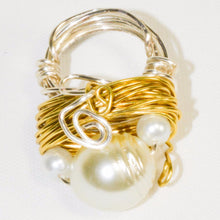 Load image into Gallery viewer, White Color Pearl Silver Gold Color Wire Ring