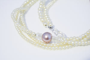 White Tiny Pearls Large Pinkish Pendent w/Rhinestones Necklace