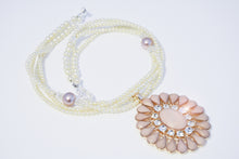 Load image into Gallery viewer, White Tiny Pearls Large Pinkish Pendent w/Rhinestones Necklace
